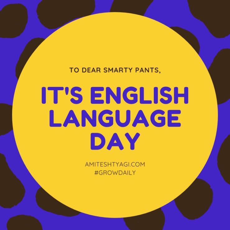 Yellow Shape Pattern English Language Day Social Media Graphic